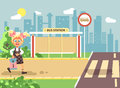 Vector illustration cartoon characters child, observance traffic rules, lonely blonde girl schoolchild, pupil go to road