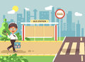 Vector illustration cartoon characters child, observance traffic rules, lonely brunette boy schoolchild, pupil go to