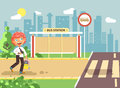 Vector illustration cartoon characters child, observance traffic rules, lonely redhead boy schoolchild, pupil go to road