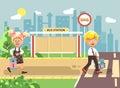 Vector illustration cartoon characters children, observance traffic rules, boy and girl schoolchildren classmates go to