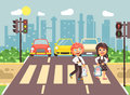 Vector illustration cartoon characters children, observance traffic rules, boy and girl schoolchildren classmates go to