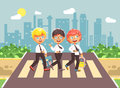 Vector illustration cartoon characters children, observance traffic rules, boy schoolboys, classmates pupils go to road