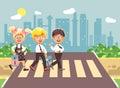 Vector illustration cartoon characters children, observance traffic rules, boys and girl schoolchildren classmates go to