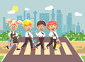 Vector illustration cartoon characters children, observance traffic rules, boys and girl schoolchildren classmates go to