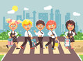 Vector illustration cartoon characters children, observance traffic rules, boys and girl schoolchildren classmates go to Royalty Free Stock Photo