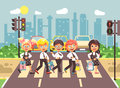 Vector illustration cartoon characters children, observance traffic rules, boys and girls schoolchildren classmates go
