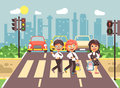 Vector illustration cartoon characters children, observance traffic rules, boys and girls schoolchildren classmates go Royalty Free Stock Photo