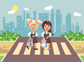 Vector illustration cartoon characters children, observance traffic rules, girls schoolgirls, classmates pupils go to