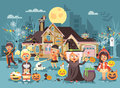 Vector illustration cartoon characters children Trick-or-Treat, boy, girl costumes, fancy dresses celebrate holiday