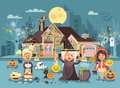 Vector illustration cartoon characters children Trick-or-Treat, girls costumes, fancy dresses skeleton, witch