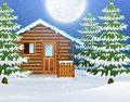 Cartoon of Christmas wooden house with fir trees Royalty Free Stock Photo