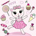 Vector illustration of cartoon cute cat girl with candies