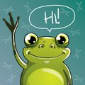 Vector illustration of cartoon frog. Hi. Royalty Free Stock Photo