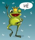 Vector illustration of cartoon frog prince. Hi. Royalty Free Stock Photo