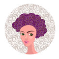 Vector Illustration of Cartoon Girl with Curly Hair