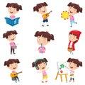 stock image of  Vector Illustration Of Cartoon Girl Doing Various Activities
