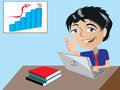 Vector illustration of a cartoon happy businessman graph on screen shows increase sales achievement Stock Photography