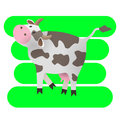 Vector illustration. Cartoon happy cow. Drawing for children. The farm. Stylized animal. Art. Royalty Free Stock Photo