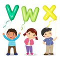 Cartoon kids holding letter VWX shaped balloons