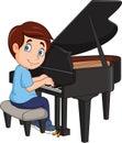 Cartoon little boy playing piano Royalty Free Stock Photo