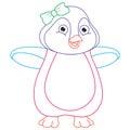 Vector Illustration Of Cartoon Penguin