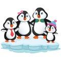 Vector Illustration Of Cartoon Penguin Family