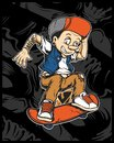 A vector illustration of cartoon young Pinocchio with skateboard