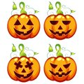 Vector illustration carved Halloween Pumpkin Expressions Set
