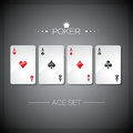 Vector illustration on a casino theme with playing poker cards poker aces set template Stock Photos