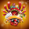 Vector illustration on a casino theme with roulette wheel and ribbon Stock Photo