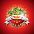 Vector illustration on a casino theme with sevens seven symbols and ribbon red background eps design Royalty Free Stock Image