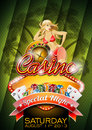 Vector illustration on a casino theme with sexy girl roulette wheel and tropical background Stock Image