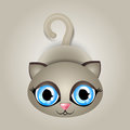 Vector illustration cat big blue eyes Royalty Free Stock Image