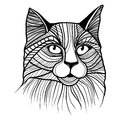 Vector illustration of cat head animal for t shirt sketch tattoo design Stock Photo