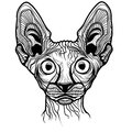 Vector illustration of cat head animal for t shirt sketch tattoo sphinx design Royalty Free Stock Photo