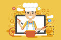 Vector illustration chef cook nutritionist dietician man HLS cooking training education recipe blog proper and healthy