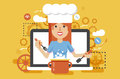 Vector illustration chef cook nutritionist dietician woman HLS cooking training education recipe blog proper and healthy