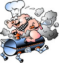 Vector illustration of an Chef  Pig riding an BBQ barrel Royalty Free Stock Photo