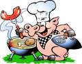 Vector illustration of an Chef Pig standing and making BBQ Royalty Free Stock Photo
