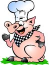 Vector illustration of an Chef Pig standing and pointing Royalty Free Stock Image