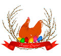 Vector illustration of chicken, easter eggs and spring willow