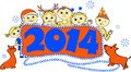 Vector illustration of children with a banner new year s in Royalty Free Stock Image
