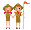 Vector illustration of children boy and girl scouts Royalty Free Stock Photo