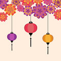 Vector illustration of Chinese Lanters decoration colorful fun set with flowers Royalty Free Stock Photo