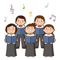 Vector illustration of choir girls and boys singing a song Royalty Free Stock Photo