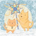 Vector illustration of Christmas carols with dog and cat