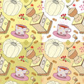 Vector illustration of Christmas dishes, grinder, cake and cup of chocolate, seamless christmas patterns
