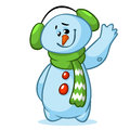 Vector illustration of Christmas snowman with striped green scarf  on white background Royalty Free Stock Photo