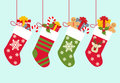 Vector Illustration: Christmas socks with gifts