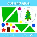 Vector illustration. Christmas tree with balls and star. Educati